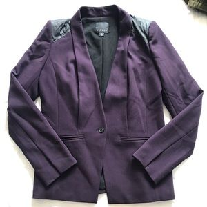 Trouve plum and faux leather trimmed blazer